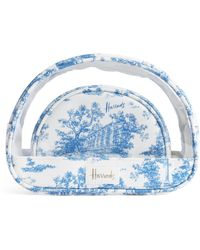 Harrods Toile Cosmetic Bags (set Of 2) - Blue