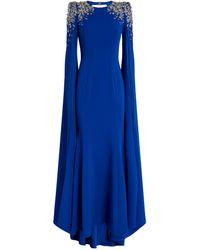 Jenny Packham Embellished Crepe Yva Caped Gown - Blue