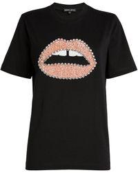 Markus Lupfer Sequin Lips Alex T-shirt - Black
