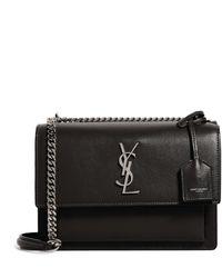 Saint Laurent Sunset Leather Shoulder Bag - Gray