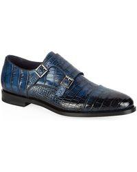 Santoni - Alligator Monk Shoe - Lyst