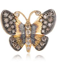 Annoushka Yellow Gold And Diamond Butterfly Earring - Metallic
