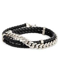 Giorgio Armani Leather Chain Bracelet - Black
