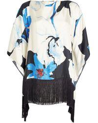 Marina Rinaldi Silk Segno Floral Cape - Blue