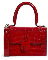 Christian Louboutin Elisa Small Croc-embossed Leather Top-handle Bag - Red