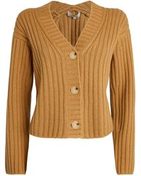 Vince Wool-cashmere Ribbed Cardigan - Brown