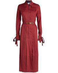Evi Grintela Pleated Cotton Midi Dress - Red