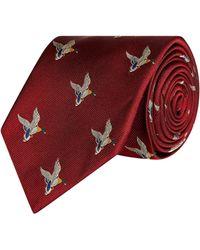 James Purdey & Sons Silk Landing Duck Tie - Brown