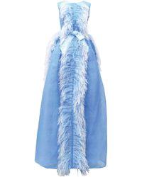 Huishan Zhang Beau Feather-trim Gown - Blue