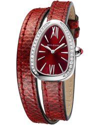 BVLGARI - Stainless Steel And Diamond Serpenti Watch 27mm - Lyst