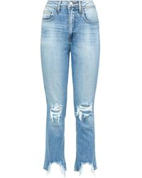 L'Agence - High Line Distressed Jeans - Lyst