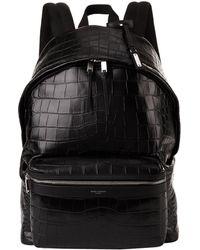 Saint Laurent - Leather Croc Embossed Backpack - Lyst