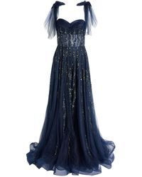 Jovani Tulle Bow Gown - Blue