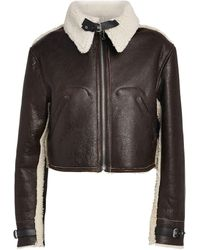 MM6 by Maison Martin Margiela Leather Cropped Jacket - Brown