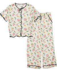 Morgan Lane Beatrice Petal Print Pyjama Set - Natural