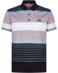 BOSS Green - Striped Polo Shirt - Lyst