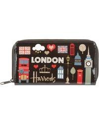 Harrods Glitter London Wallet - Black