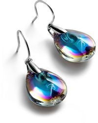 Baccarat Silver And Crystal Psydlic Drop Earrings - Blue