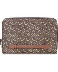 Burberry Monogram E-Canvas und Leder Zip-Around Tasche - Braun