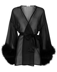 Gilda & Pearl - Marabou Trim Kimono Robe - Lyst