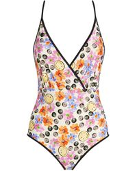 Sandro Smiley Print Swimsuit - Black
