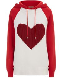 Burberry - Heart Intarsia Cotton Blend Hoodie - Lyst