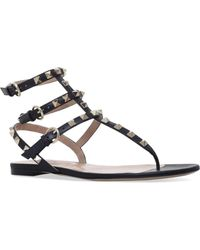 Valentino Rockstud Gladiator Sandals - Brown