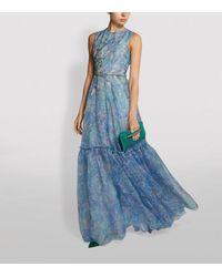 Costarellos Tamistine Embroidered Organza Gown - Blue