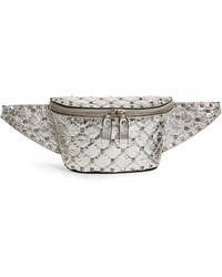 Valentino Metallic Leather Rockstud Belt Bag - Gray