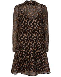 Markus Lupfer Molly Leopard Fil Coupe Dress - Black