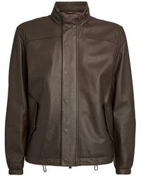 Corneliani Leather Bomber Jacket - Brown
