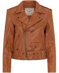 Ralph Lauren Leather Biker Jacket - Brown