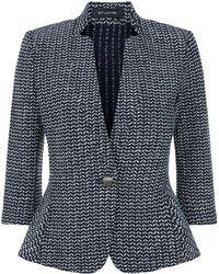 St. John - Fitted Tweed Blazer - Lyst