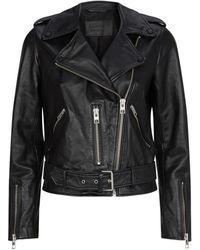 AllSaints Leather Balfern Biker Jacket - Black