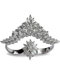 YEPREM White Gold And Diamond Inside Out Two-finger Ring