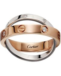 Cartier - Rose And White Gold Diamond Love Ring - Lyst