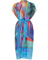 Gottex Tropical Print Kaftan - Blue