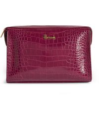 Harrods Croc-embossed Trafalgar Cosmetic Bag - Purple