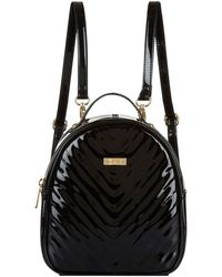 Harrods Mini Patent Chevron Backpack - Black