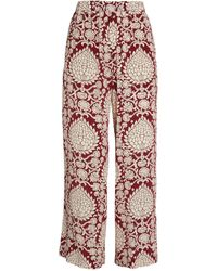 Weekend by Maxmara - Silk Cropped Patterned Trousers - Lyst