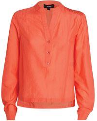ME+EM Cotton-silk Bib Shirt - Orange