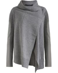 AllSaints Wool-leather Lucia Cardigan - Gray