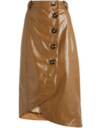 Ganni Patent Button-detailed Asymmetric Skirt - Multicolor