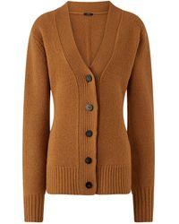 JOSEPH Boiled Wool Cardigan - Brown