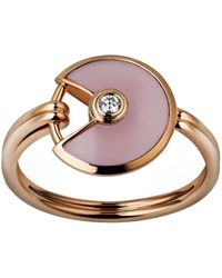 Cartier - Extra Small Pink Gold And Opal Amulette De Ring - Lyst