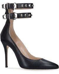 Alessandra Rich Leather Double Buckle Pumps 100 - Black