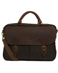 Barbour Waxed Cotton Briefcase - Brown
