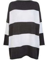 Eskandar - Hand-loomed Cotton Striped Sweater, White - Lyst