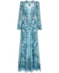 Zuhair Murad Embroidered Astor Gown - Blue