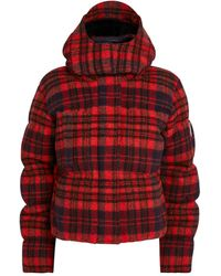 Chloé Check Hooded Puffer Jacket - Orange